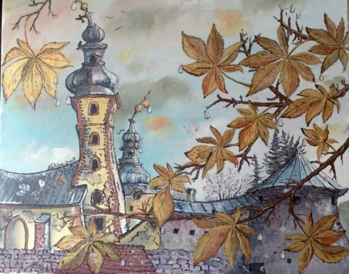 painting of a village and church tower by slovakian artist lubica lintnerova