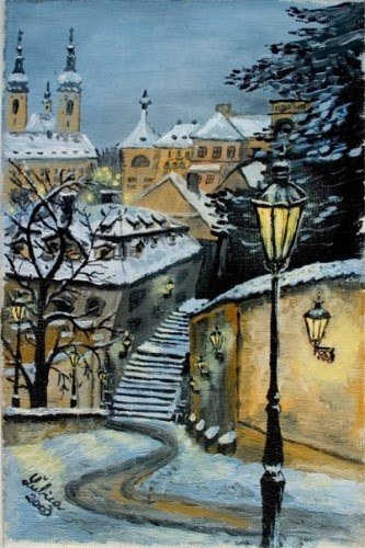 painting of a snow covered pathway through a european city by lubica lintnerova
