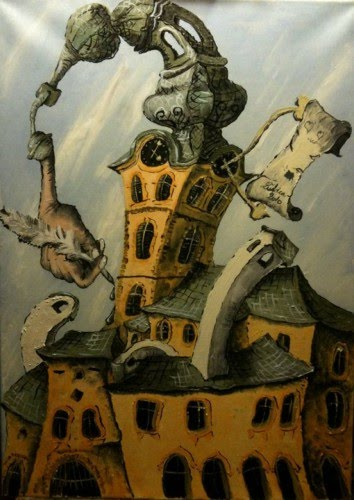 fantasy art painting of a european cathedral twisting and curved by artist lubica lintnerova