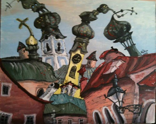 lubica lintnerova painting of a european city with curvy church towers and rooftops