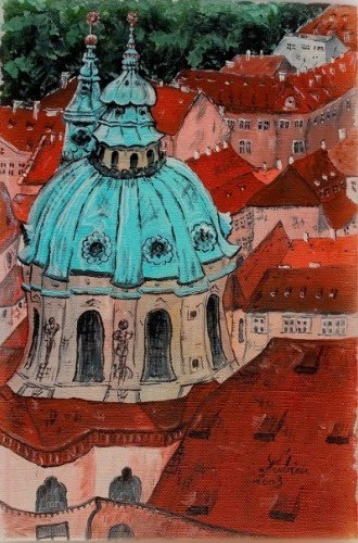 painting of rooftops and a european cathedral with copper dome by lubica lintnerova