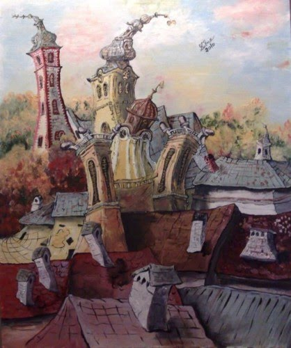 fantasy painting of european city with spiraling church towers by artist lubica lintnerova