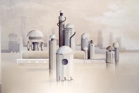 letizia gavioli painting of a city of mechanics