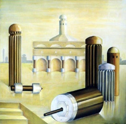 letizia gavioli painting of columns and islamic architecture that looks like enlarged mechanical parts
