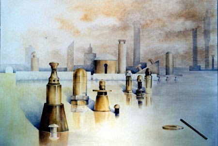 letizia gavioli painting of mechanical parts that look like towers and columns almost like chess pieces