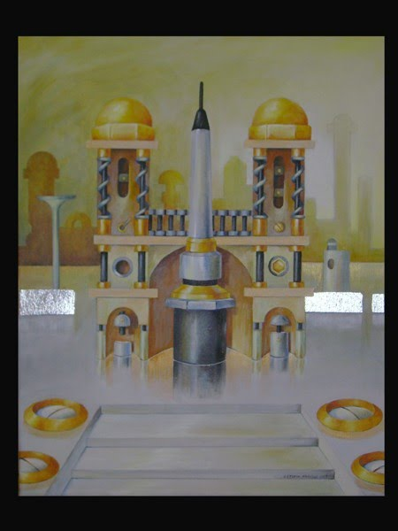 letizia gavioli painting or illustration of an islamic center made of mechanical like parts enlarged to be columns and architecture