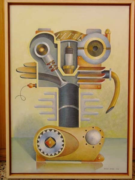 illustration painting by letizia gavioli of a surreal machine like person made of mechanical parts