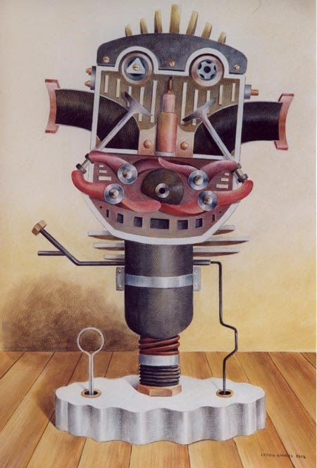 illustrated painting of machine parts that morph and become a person by letizia gavioli