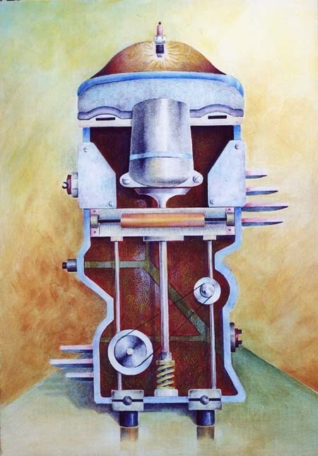illustrated painting of machine parts that morph to create an abstract human figure by letizia gavioli