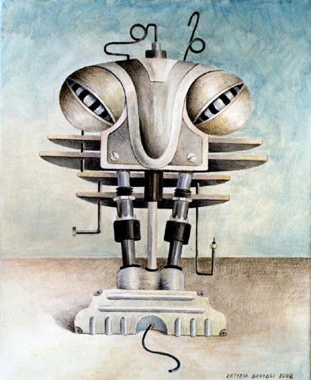 surreal illustrated painting of mechanical parts morphed into the human form by letizia gavioli