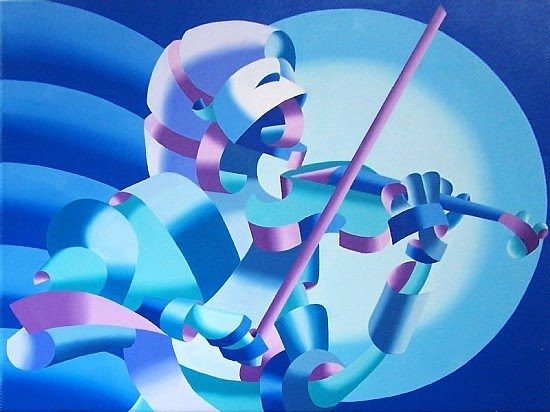 modern cubism painting of a blue violinist by mark webster
