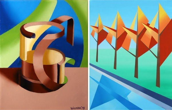 cubism painting of coffee cup and a landscape cubist painting of trees