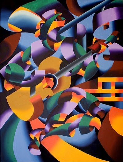 cubist painting by mark webster - modern guitar player