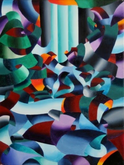 modern cubist landscape painting by mark webster