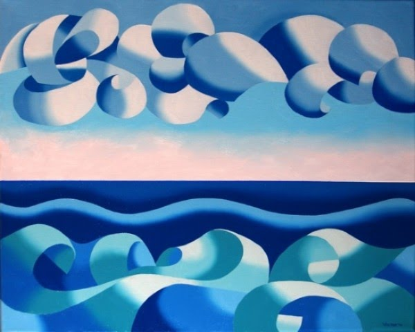 seascape and sky cubist painting by mark webster