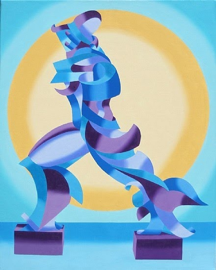 cubism painting of Boccioni sculpture by mark webster