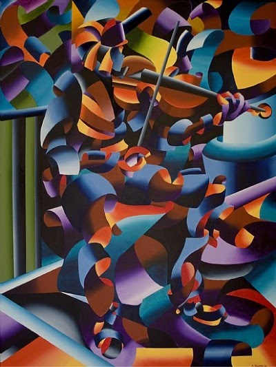 modern cubism painting by mark webster of a violinist