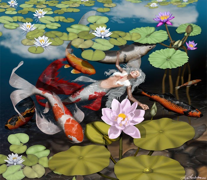 fantasy painting by liza lambertini of mermaid floating in a koi pond