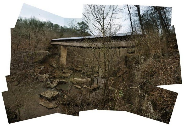 collage photography of old bridge over creek