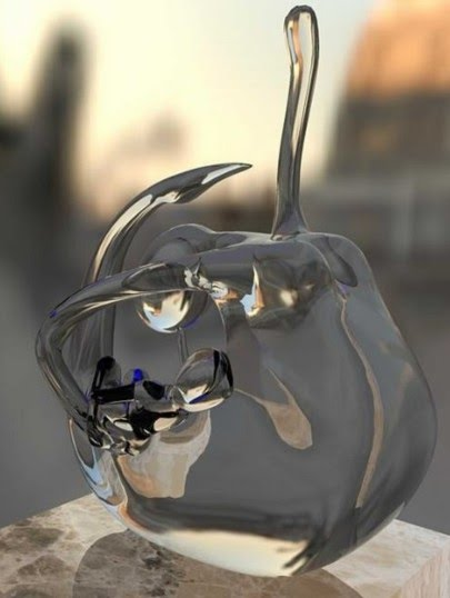 figurative glass sculpture on pedestal