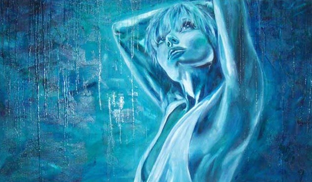 blue painting of a girl by artist keishia treber