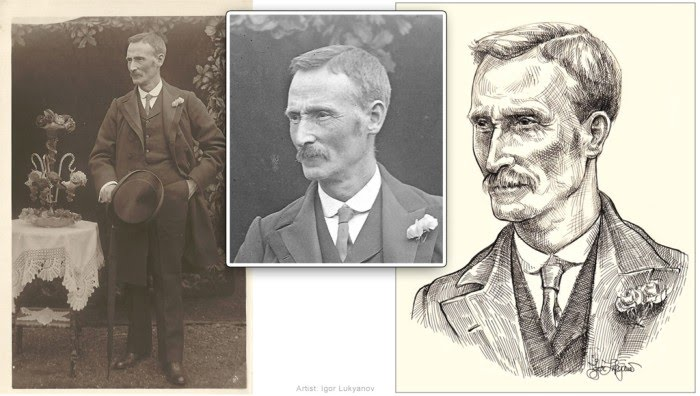 portrait illustration drawn from black and white photos by igor lukyanov of a man