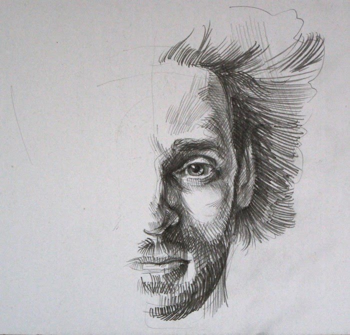 unfinished self portrait drawing of artist igor lukyanov