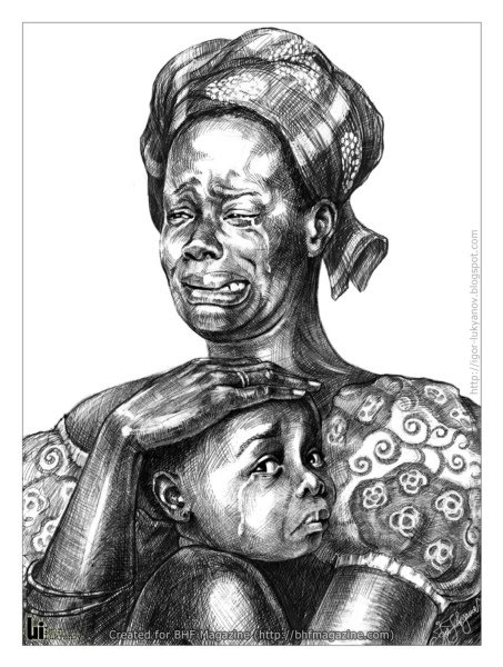 illustration by igor lukyanov of a woman and child from africa crying due to tragedy