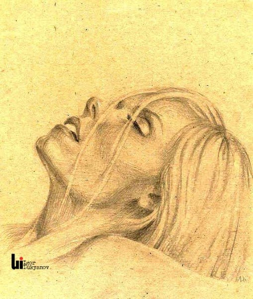 drawing of a woman leaning back by artist igor lukyanov