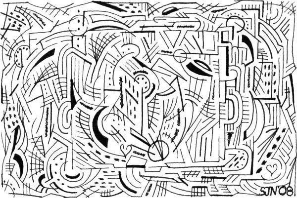 maze line drawing by steve natanson