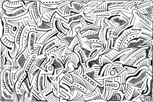 pen and ink maze drawings