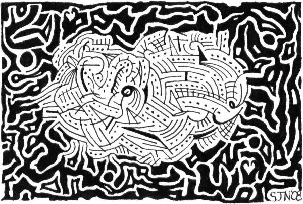 pen and ink maze art drawing