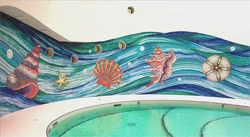 custom underwater mosaic on swimming pool wall