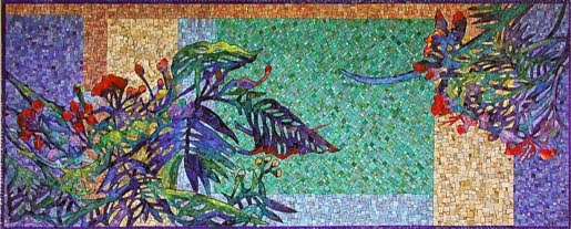 mosaic wall of colorful ferns