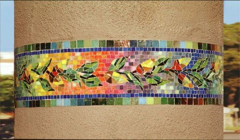 colorful mosaic going around a column