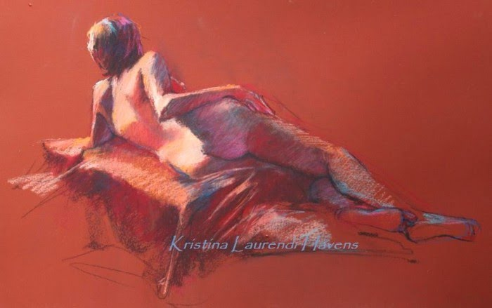 nude figurative pastel drawing by kristina laurendi havens