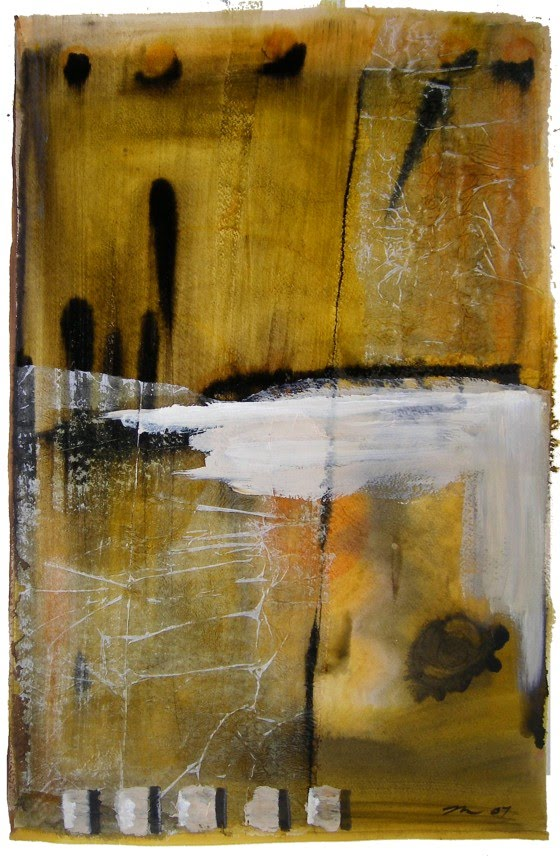 artist david mills mixed media painting on paper