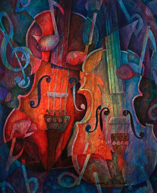 musical painting vibrant cello
