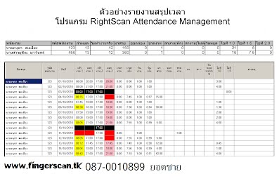 โปรแกรม Time Attandance Rightscan