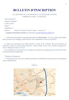 Bulletin d'inscription au Chapitre de l'Invention du 28 avril 2018