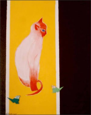 - Red cat with birds - Acrylic & Origami - Won-ju Hulse