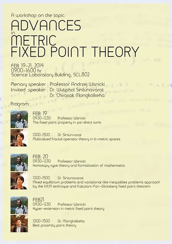 fixed point theory research paper pure maths We then apply fixed point strategies of krasnosel'skii and banach to study a nonlinear, fractional boundary value problem in chapter 4 adviser: lynn erbe and allan peterson the author's purpose in this dissertation is to introduce, develop and apply the tools of discrete fractional calculus to the arena of fractional difference equations.
