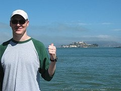 Ryan swam from Alcatraz to San Francisco in the Alcatraz Triathlon.