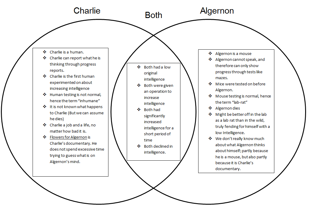 Charlie Vs Algernon Flowers For Before And After The Operation Source