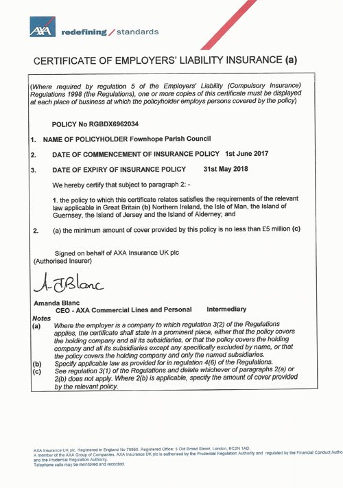 Certificate Of Employers Liability Insurance Fownhope Parish Council