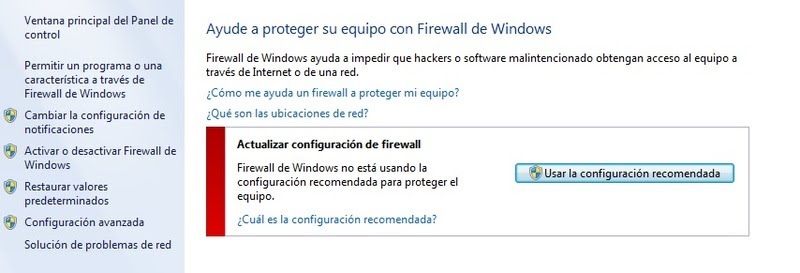 Bloqueo del Firewall de Windows.