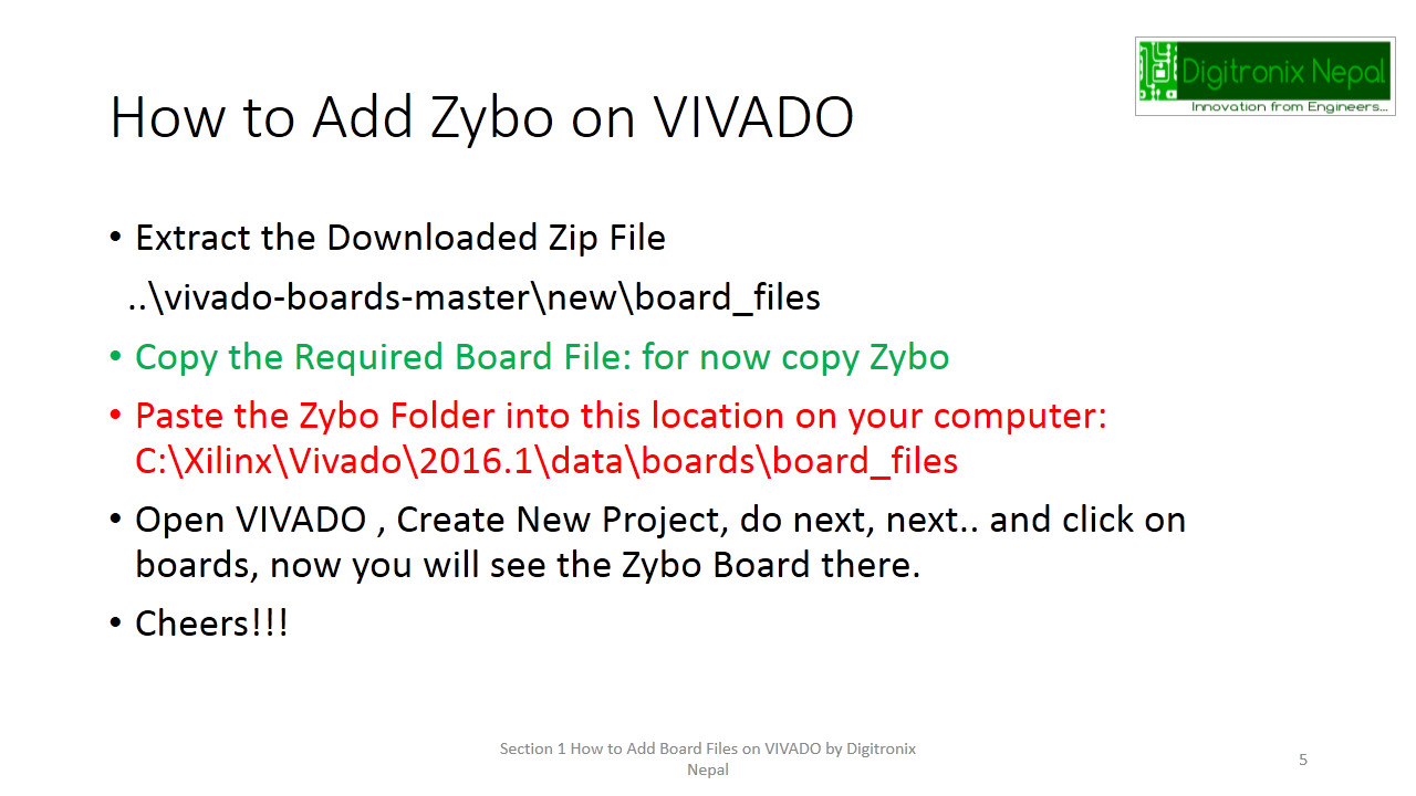 How to Add Board Files on VIVADO (Adding Zybo or other Xilinx Boards