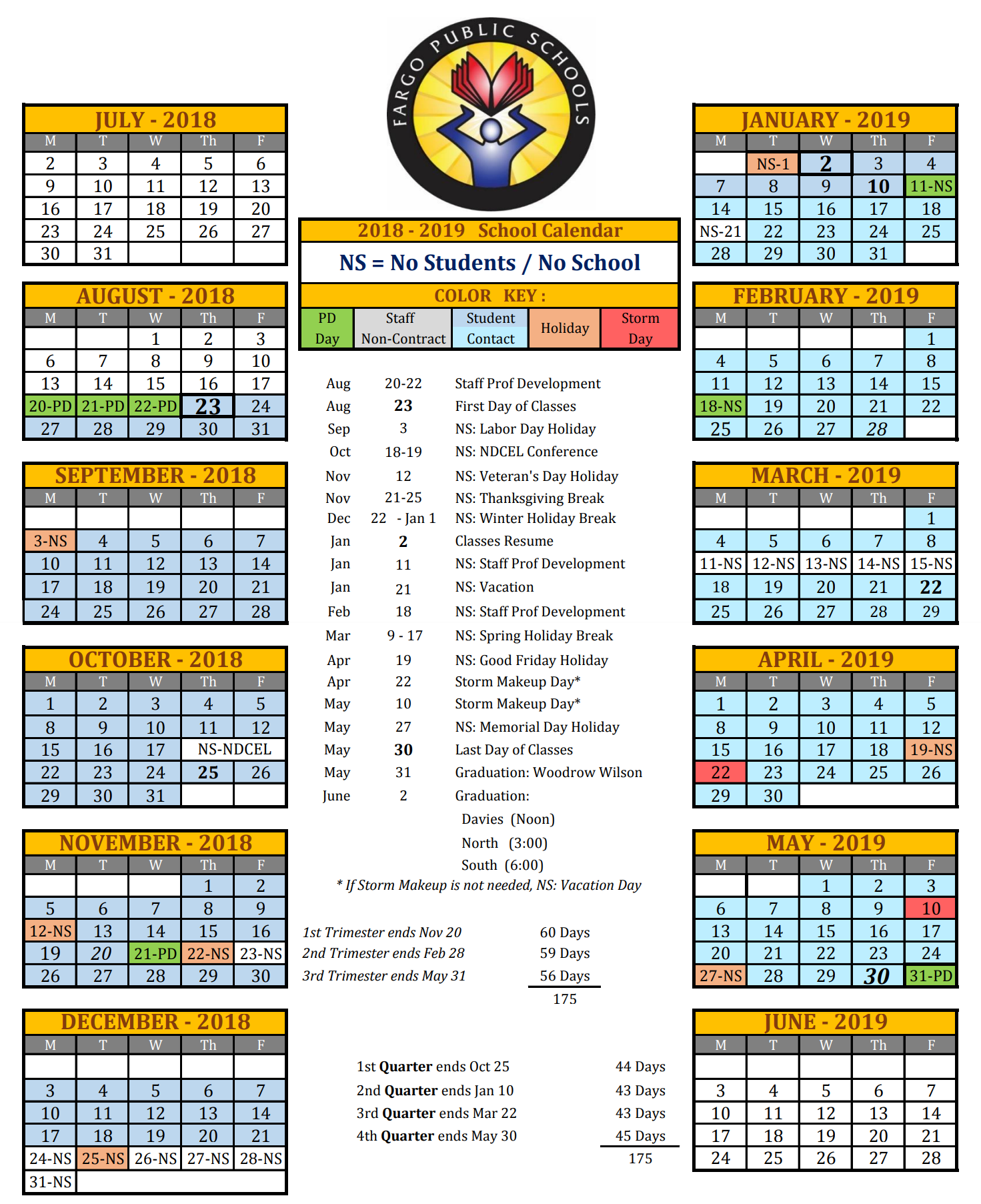 Public School Calendar 2019 16 Fargo North High School