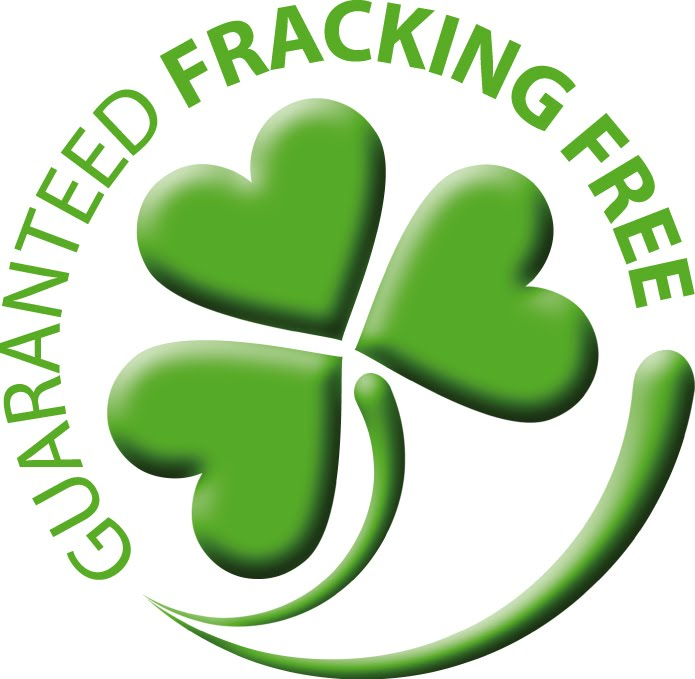 """Guaranteed Fracking Free"" Logo"