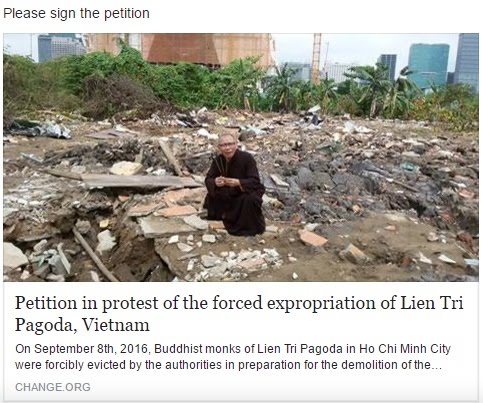 P1 - Petition in protest of the forced expropriation of Lien Tri Pagoda, Vietnam